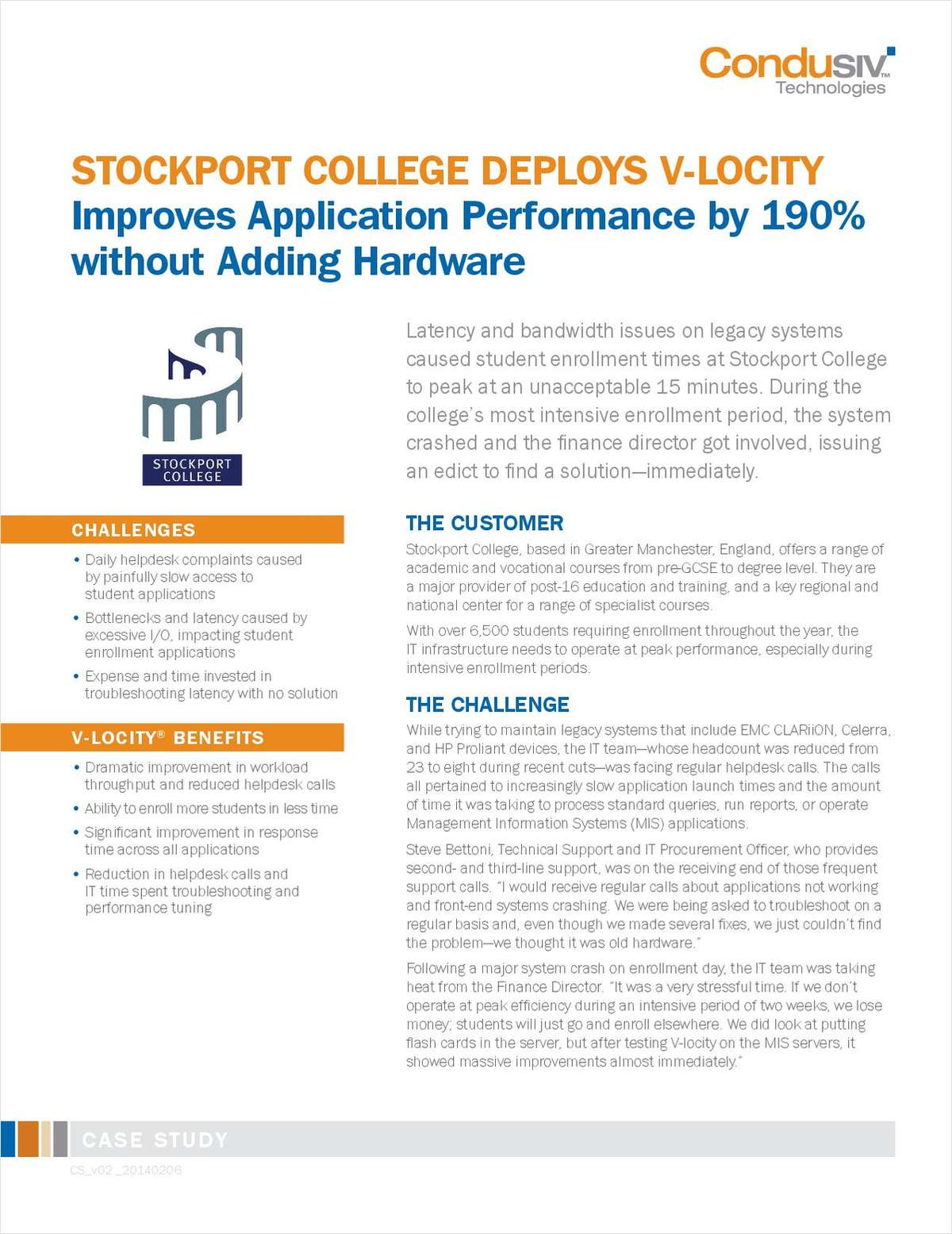 Stockport College Deploys V-locity and Improves Application Performance by 190% without Adding Hardware