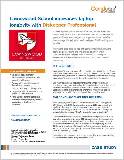 Lawnswood School increases laptop longevity with Diskeeper Professional