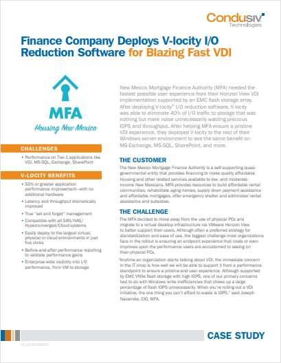 Finance Company Deploys V-locity I/O Reduction Software for Blazing Fast VDI