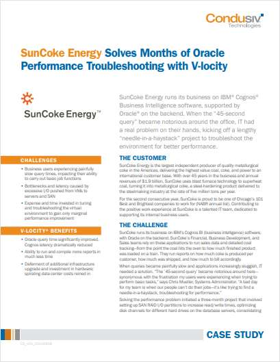 SunCoke Energy Solves Months of Oracle Performance Troubleshooting with V-locity
