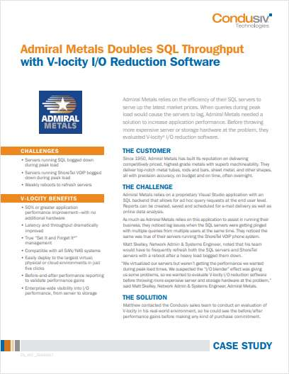 Admiral Metals Doubles SQL Throughput with V-locity I/O Reduction Software