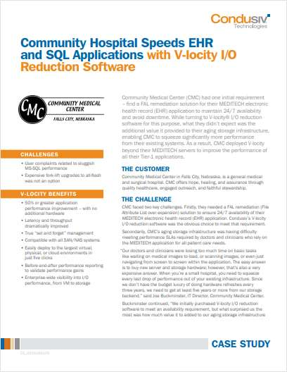 Community Hospital Speeds EHR and SQL Applications with V-locity I/O Reduction Software