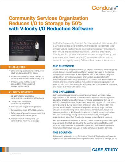 Community Services Organization Reduces I/O to Storage by 50% with V-locity I/O Reduction Software