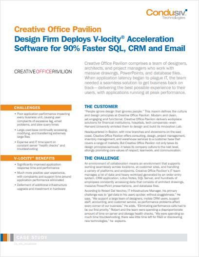 Creative Office Pavilion Design Firm Deploys V-locity® Acceleration Software for 90% Faster SQL, CRM and Email