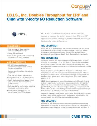 I.B.I.S., Inc. Doubles Throughput for ERP and CRM with V-locity I/O Reduction Software