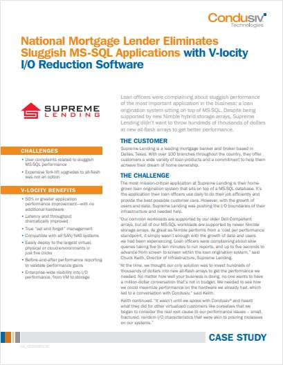 National Mortgage Lender Eliminates Sluggish MS-SQL Applications with V-locity I/O Reduction Software