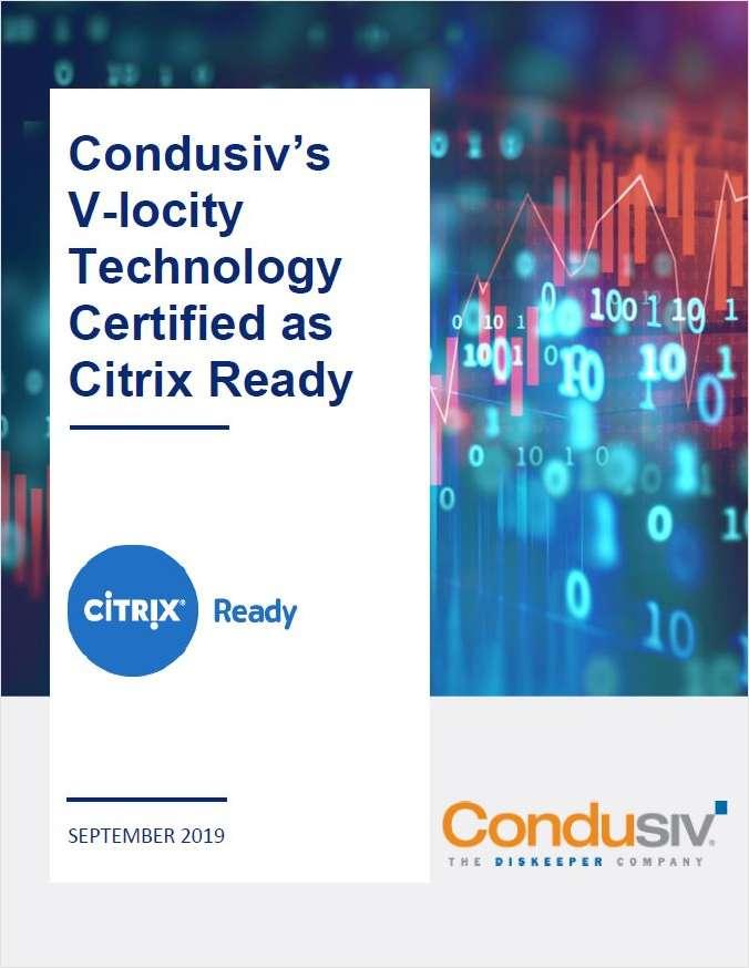 Condusiv's V-locity Technology Certified as Citrix Ready