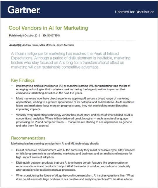 2019 Gartner Cool Vendors in AI for Marketing