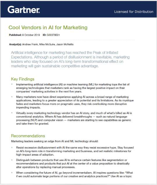 2019 Gartner Cool Vendors in AI for Marketing