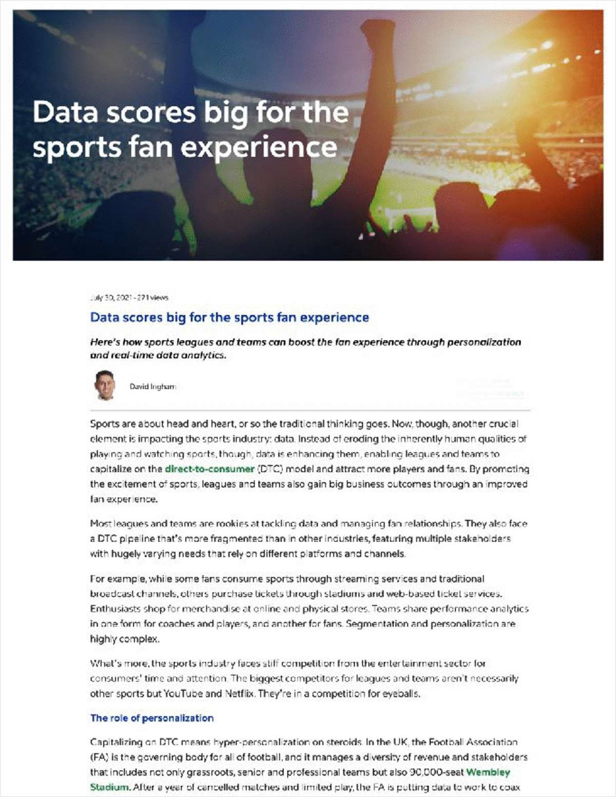 Data Scores Big for the Sports Fan Experience