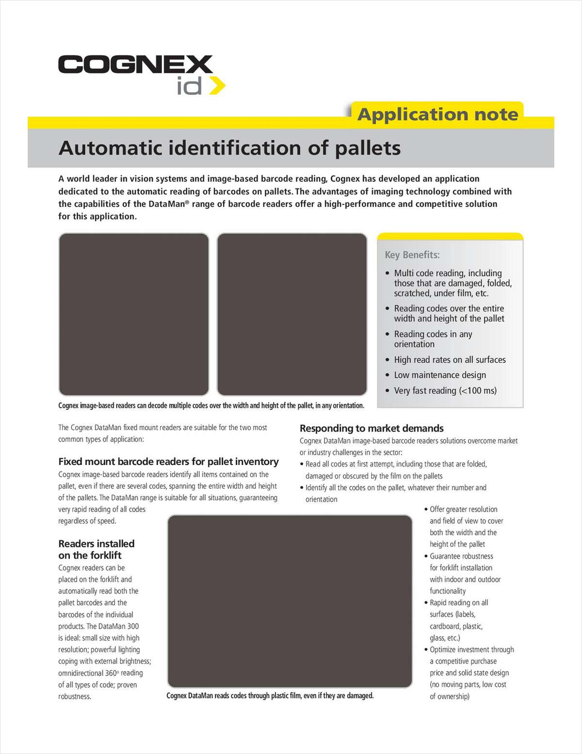 Automatic Identification of Pallets, Free Cognex Solution Brief