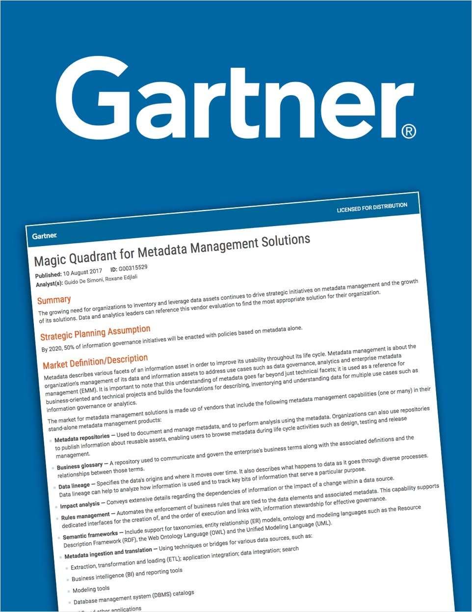 2017 Gartner Magic Quadrant for Metadata Management Solutions