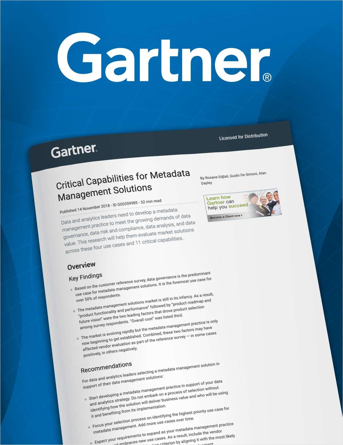 2018 Critical Capabilities for Metadata Management Solutions