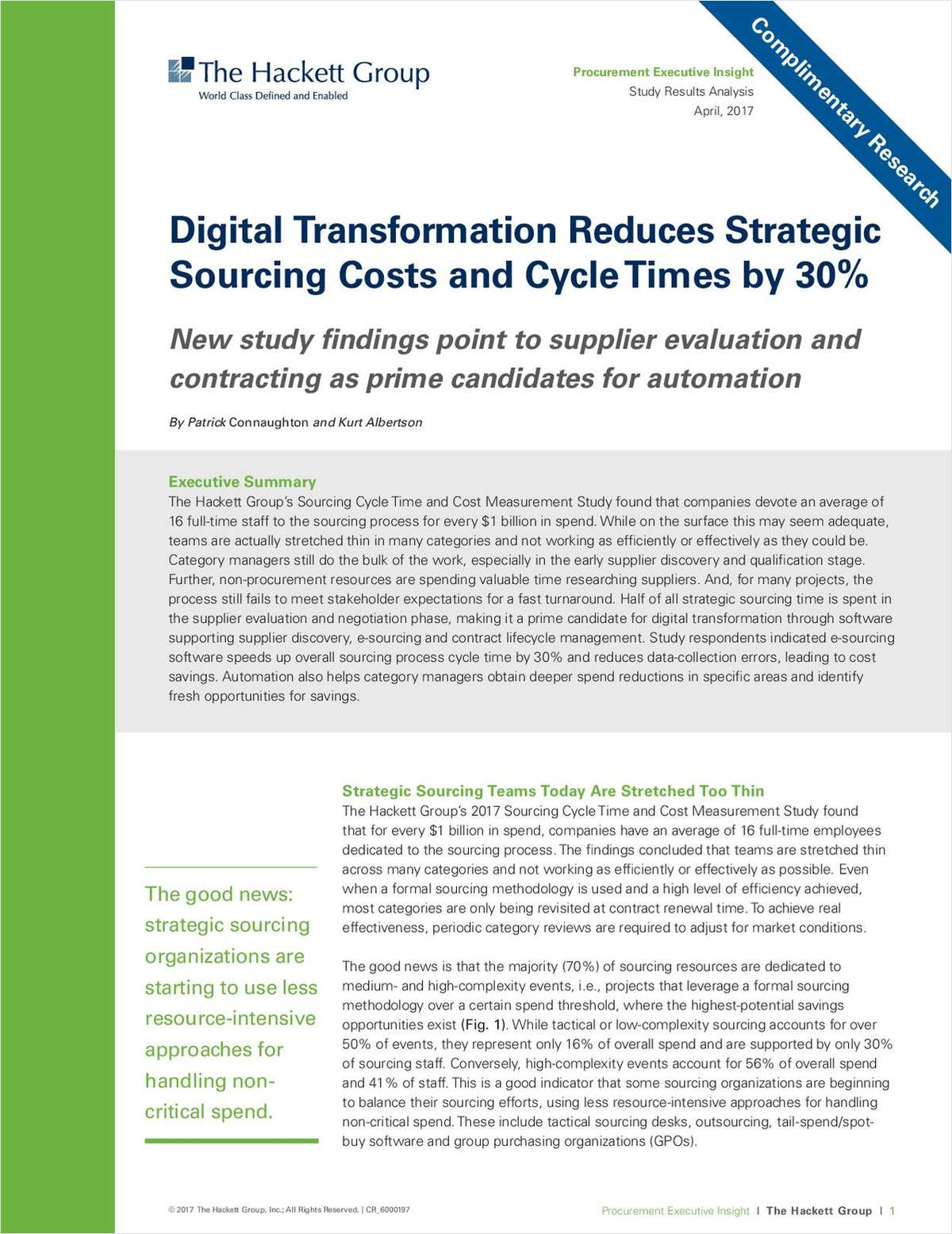 Digital Transformation Reduces Strategic Sourcing Costs and Cycle Time by 30%