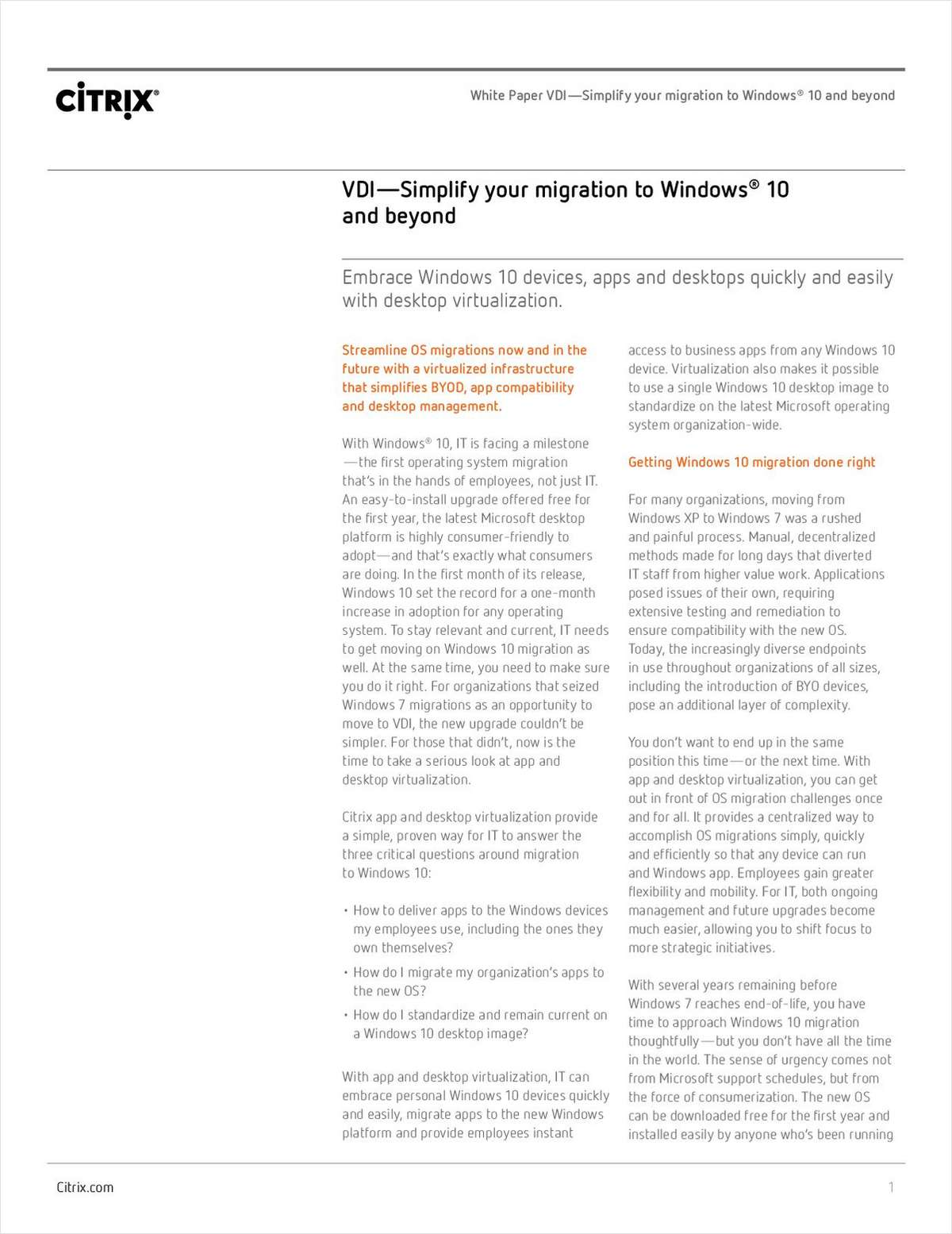 Simplify your Migration to Windows® 10 and Beyond