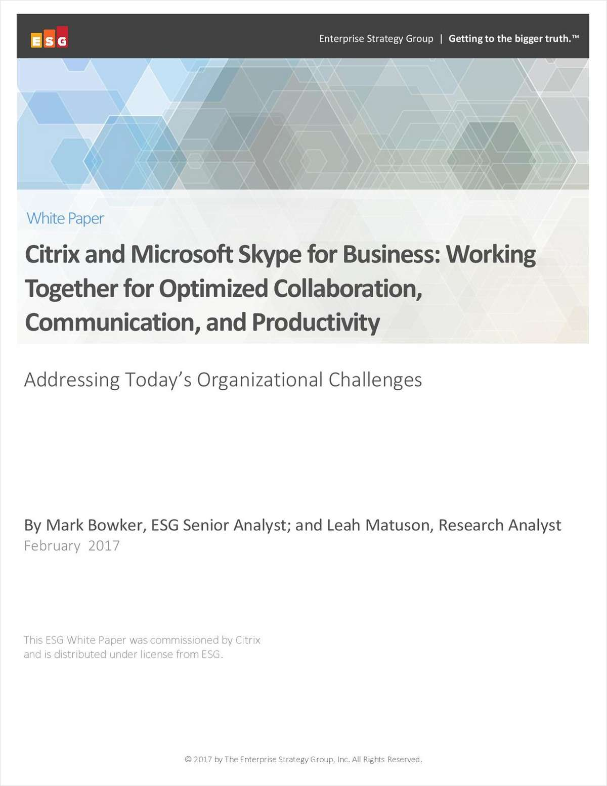 Citrix and Microsoft Skype for Business:  Working Together for Optimized Collaboration, Communication and Productivity