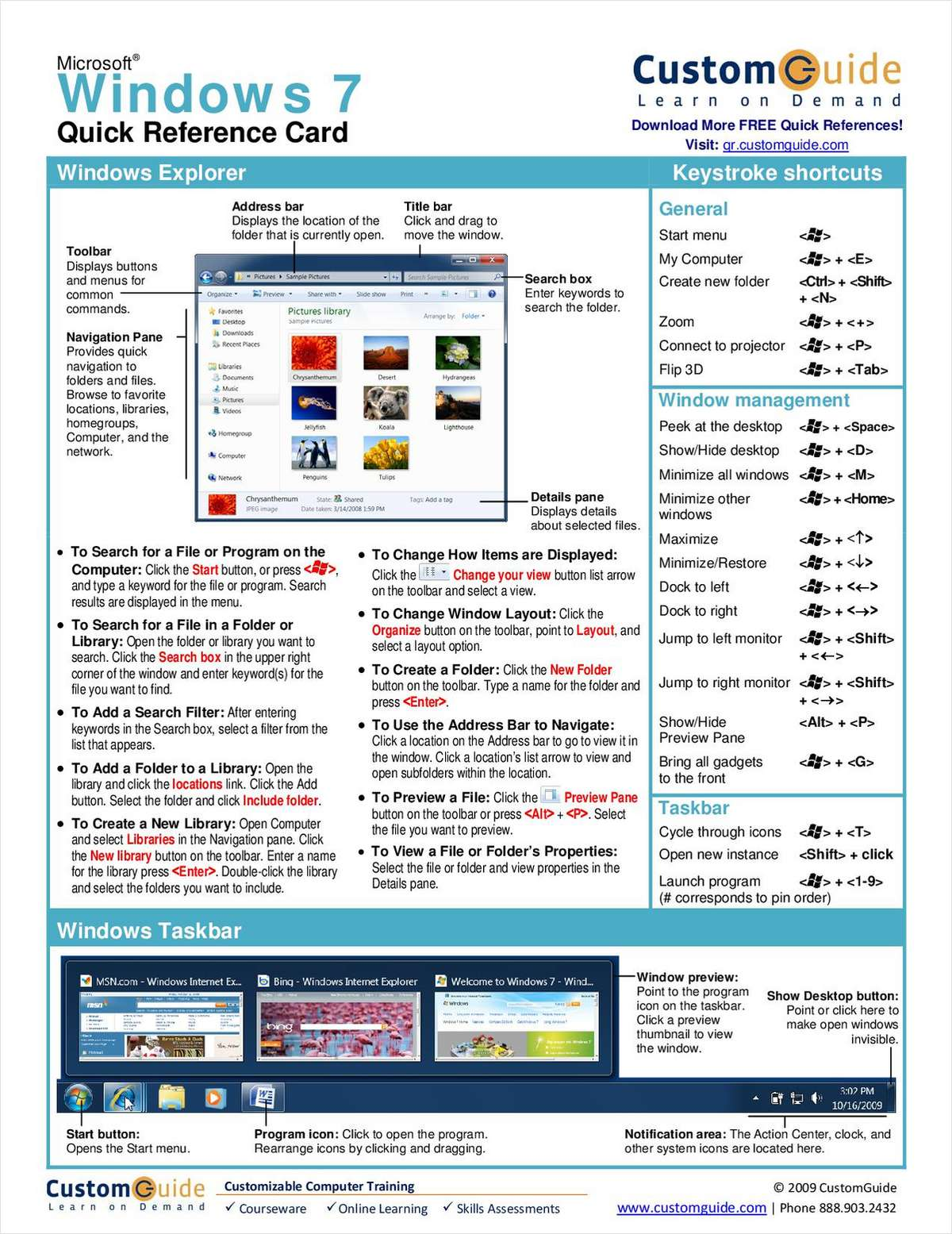 Windows 7 -- Free Quick Reference Card