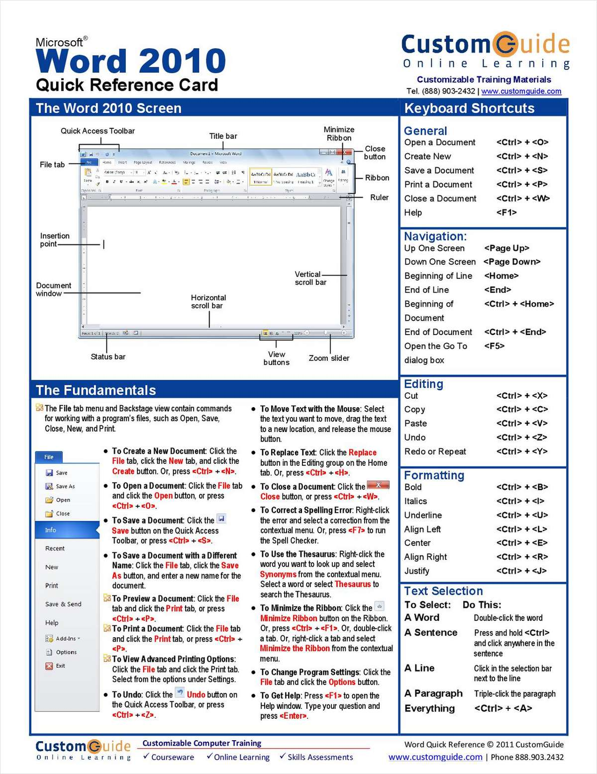 Microsoft Word 2010 - Free Quick Reference Card