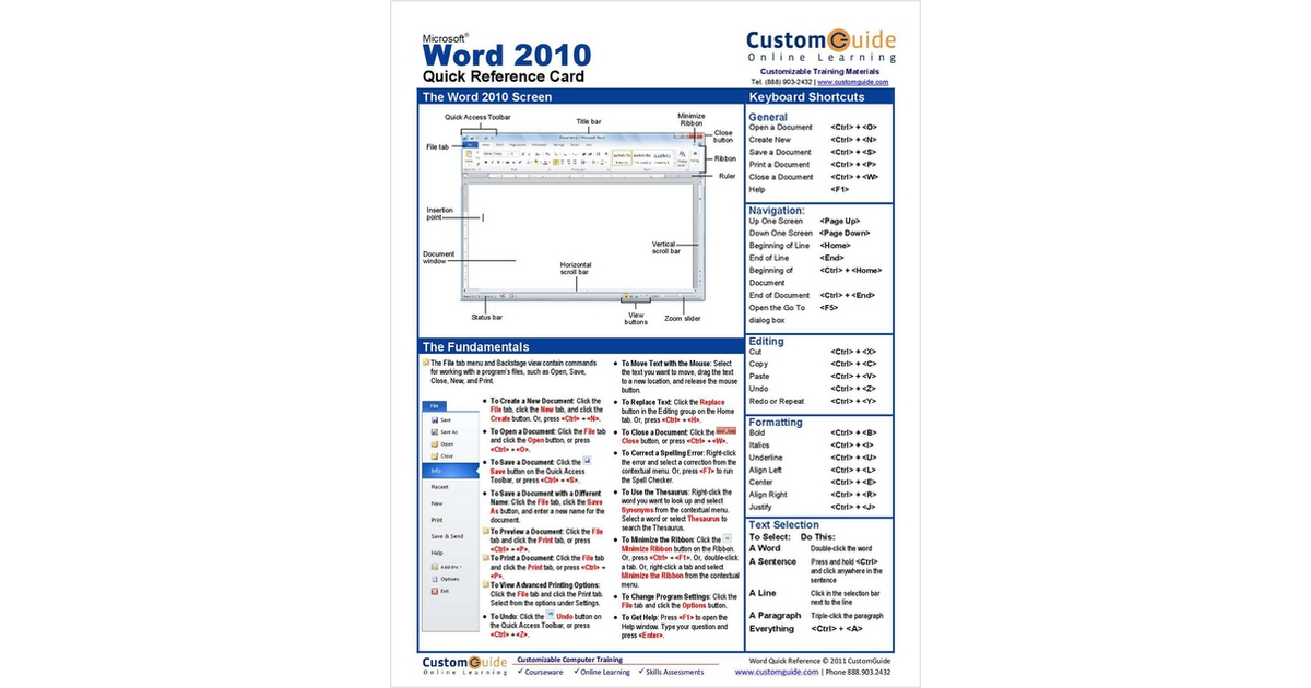 Microsoft Word 2010 - Free Quick Reference Card, Free CustomGuide Reference Card