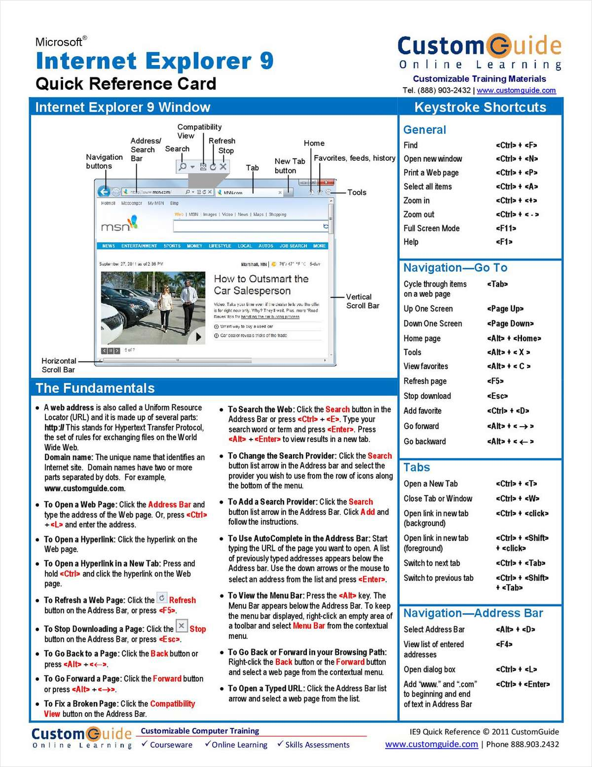 Microsoft Internet Explorer 9 - Free Quick Reference Card