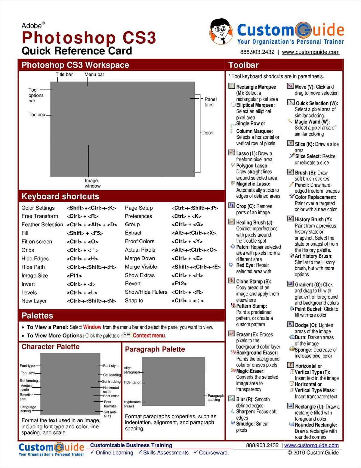 Adobe Photoshop CS3 - Free Quick Reference Card