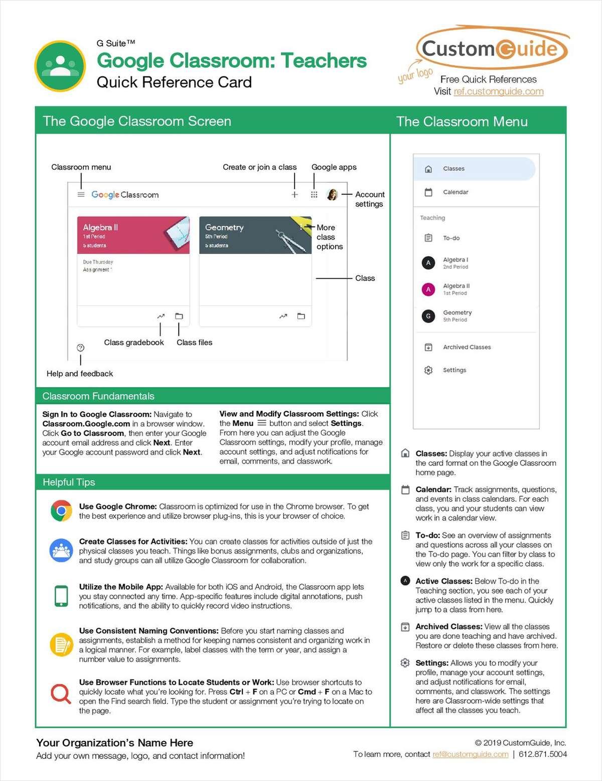 Google Classroom: Teachers- Free Reference Card