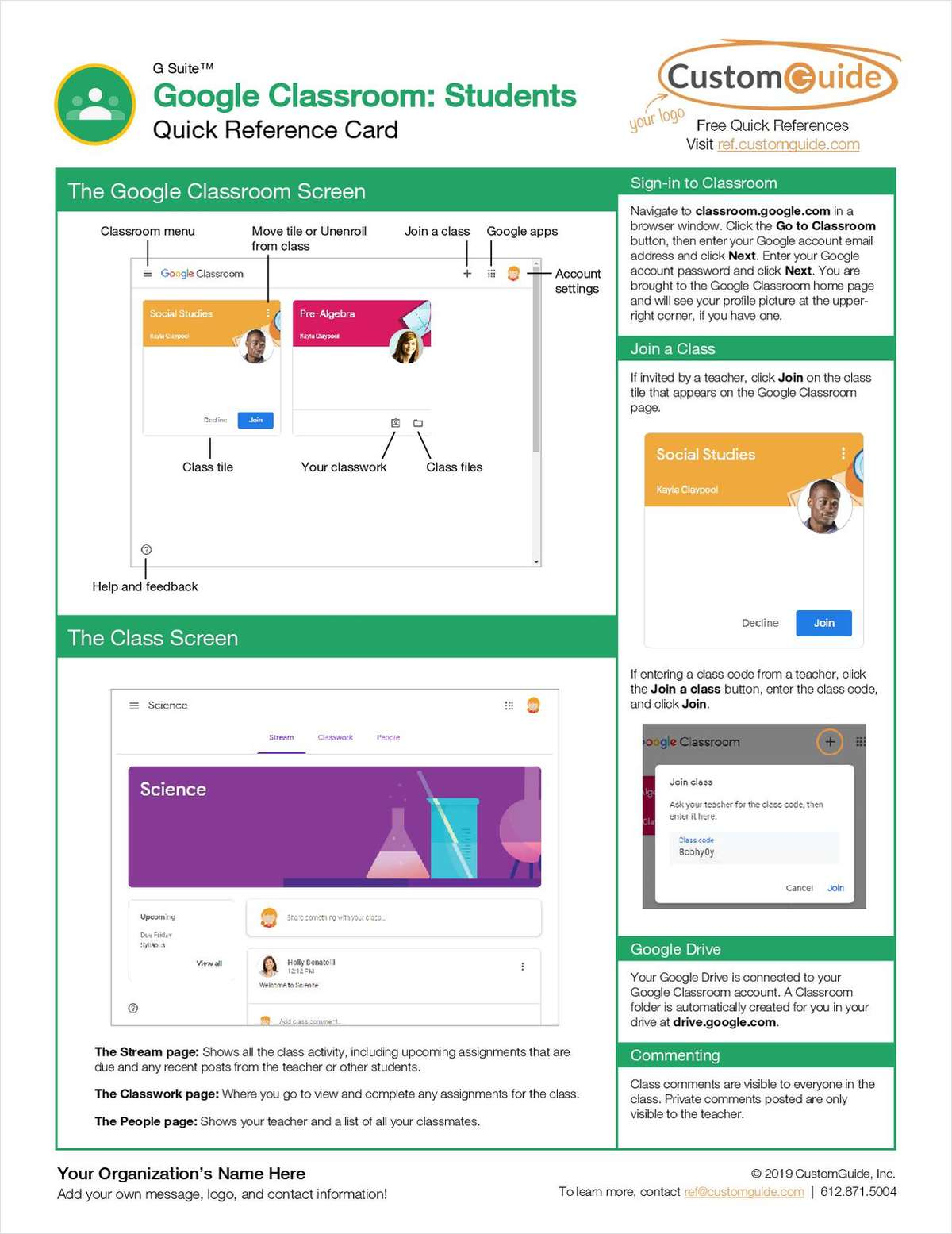 Google Classroom: Students- Free Reference Card