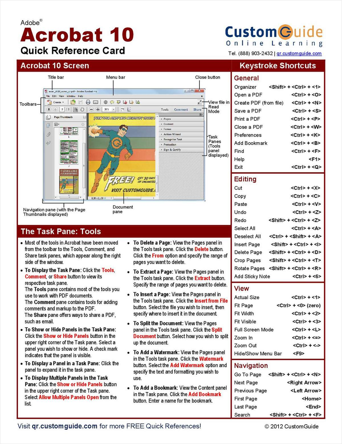 Adobe Acrobat 10 - Free Quick Reference Card