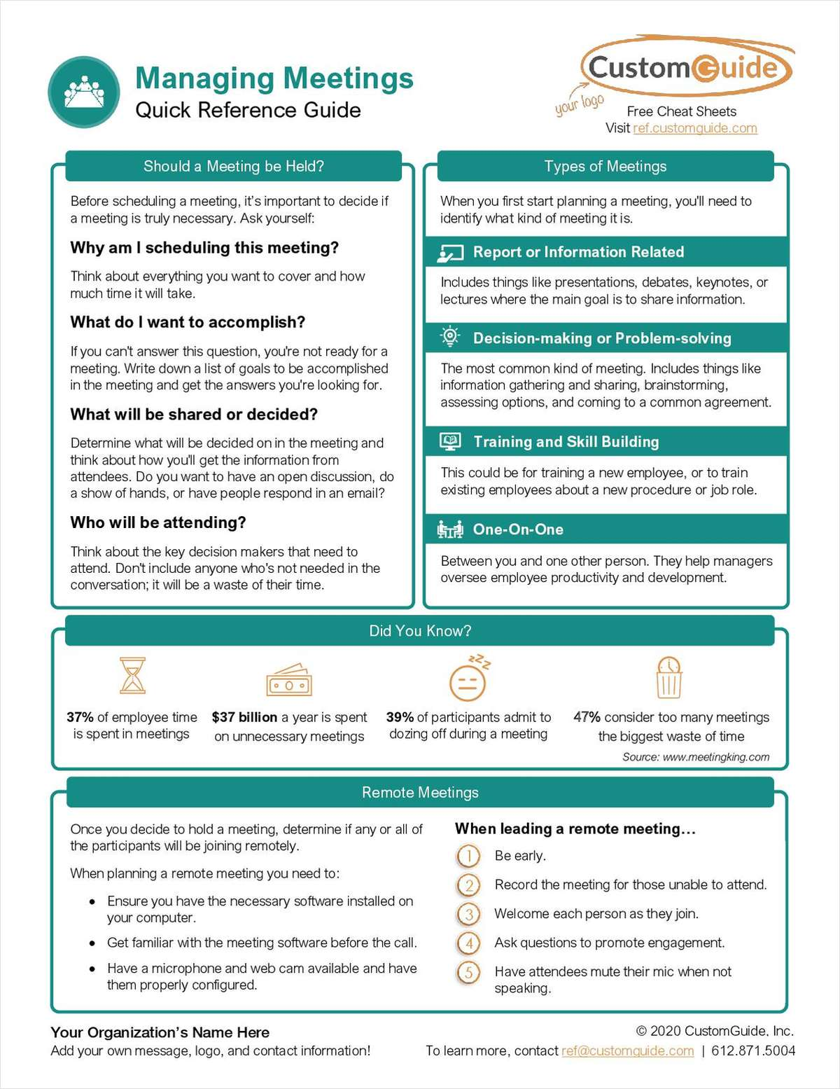 Managing Meeting Quick Reference Guide