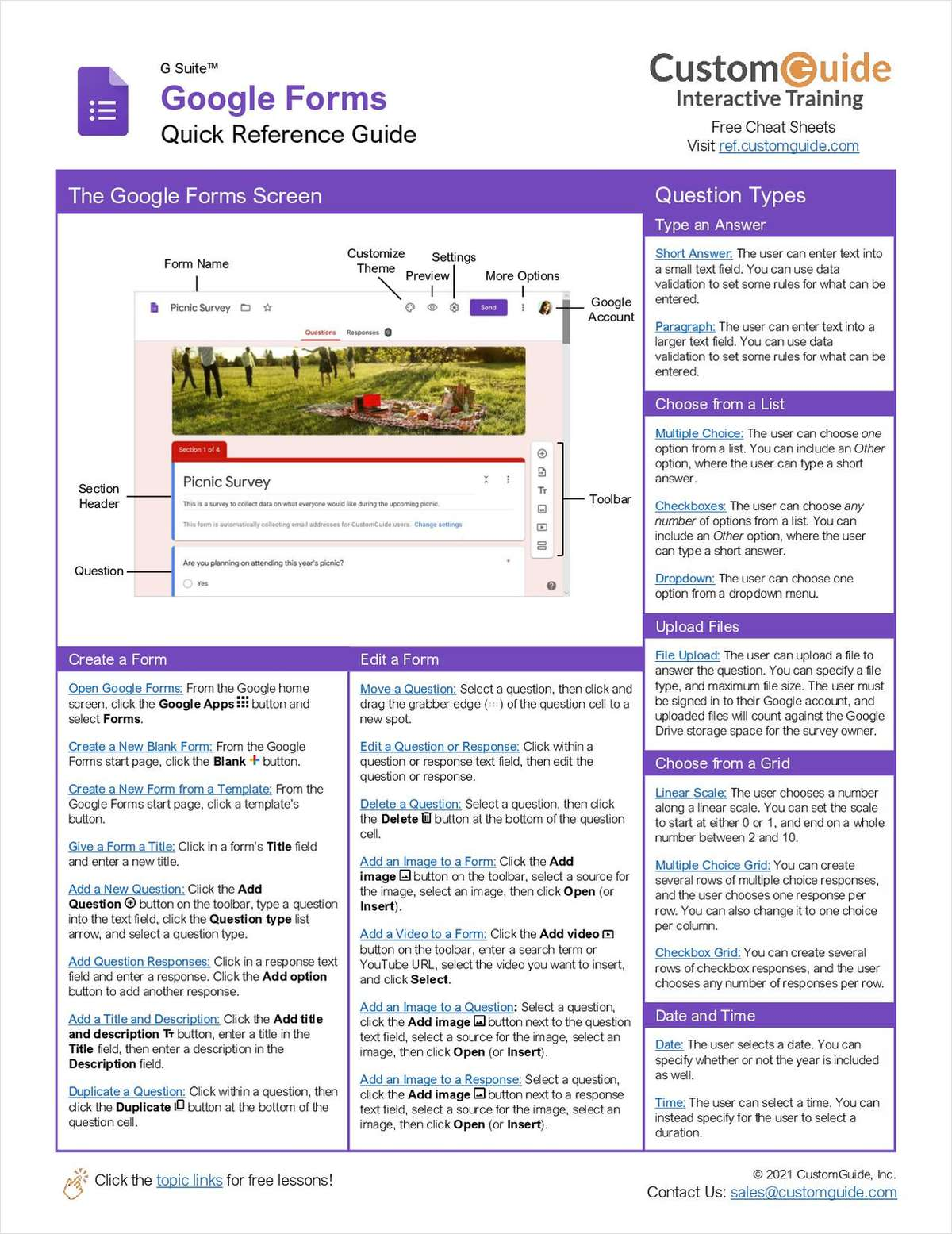 Google Forms Quick Reference Guide