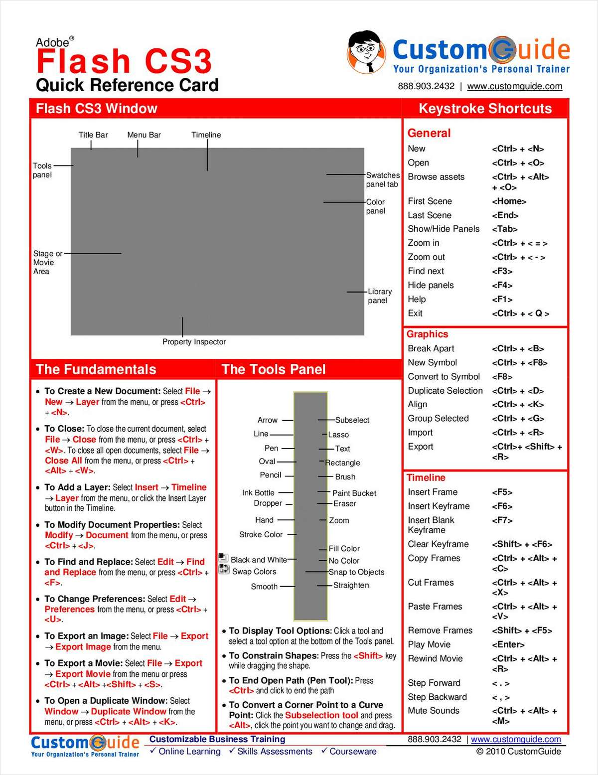 Adobe Flash CS3 -- Free Quick Reference Card
