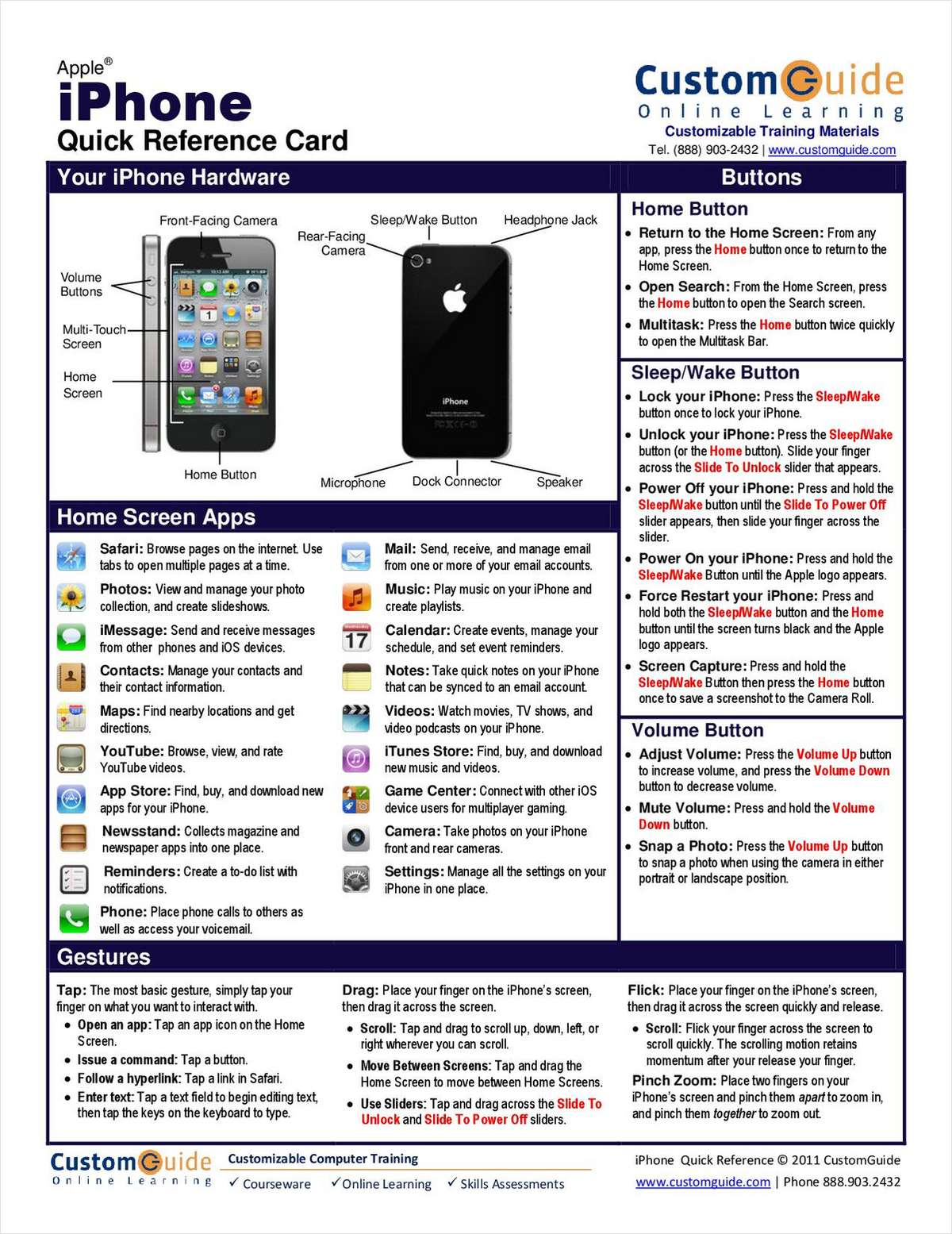 Apple iPhone -- Free Quick Reference Card