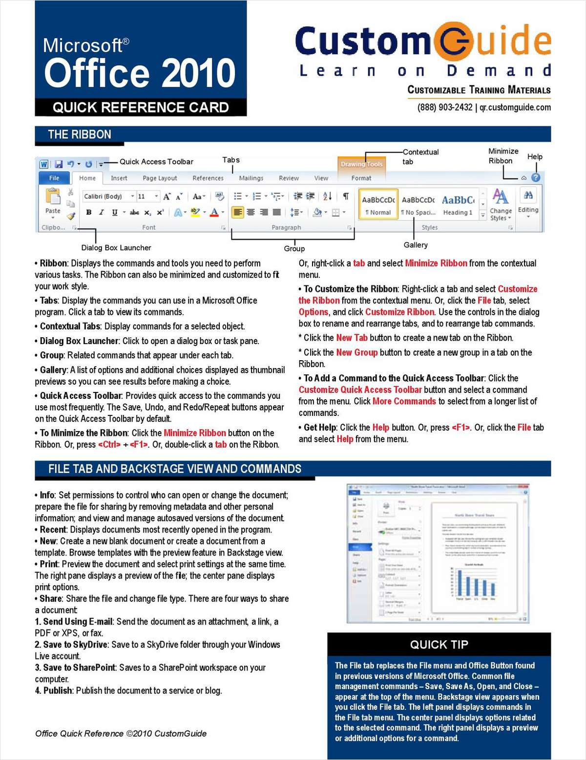 Microsoft Office 2010-- Free Quick Reference Card