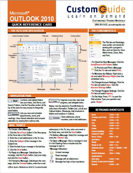 Microsoft Outlook 2010 - Free Quick Reference Card