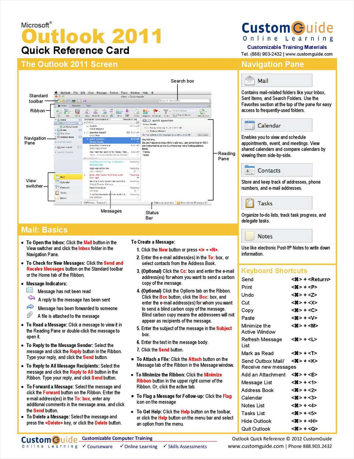Microsoft Outlook 2011-- Free Quick Reference Card