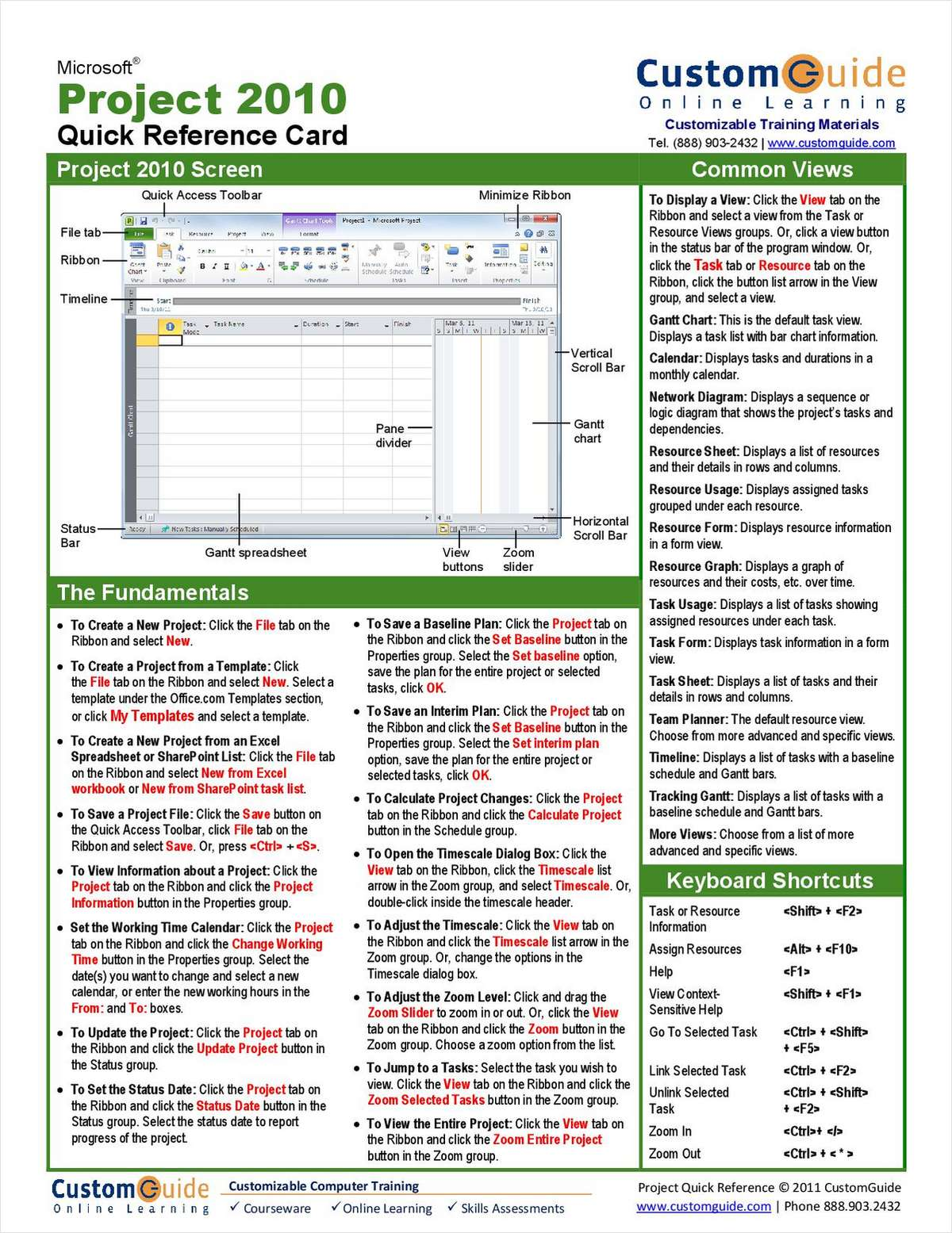 Microsoft Project 2010-- Free Quick Reference Card