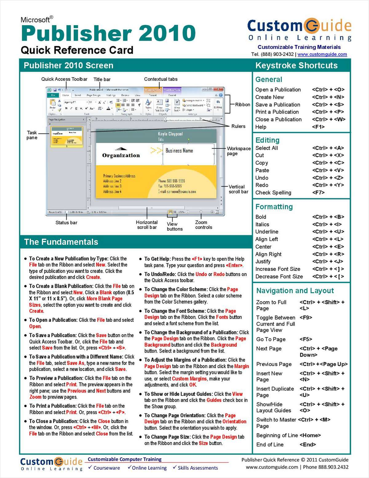 Microsoft Publisher 2010-- Free Quick Reference Card