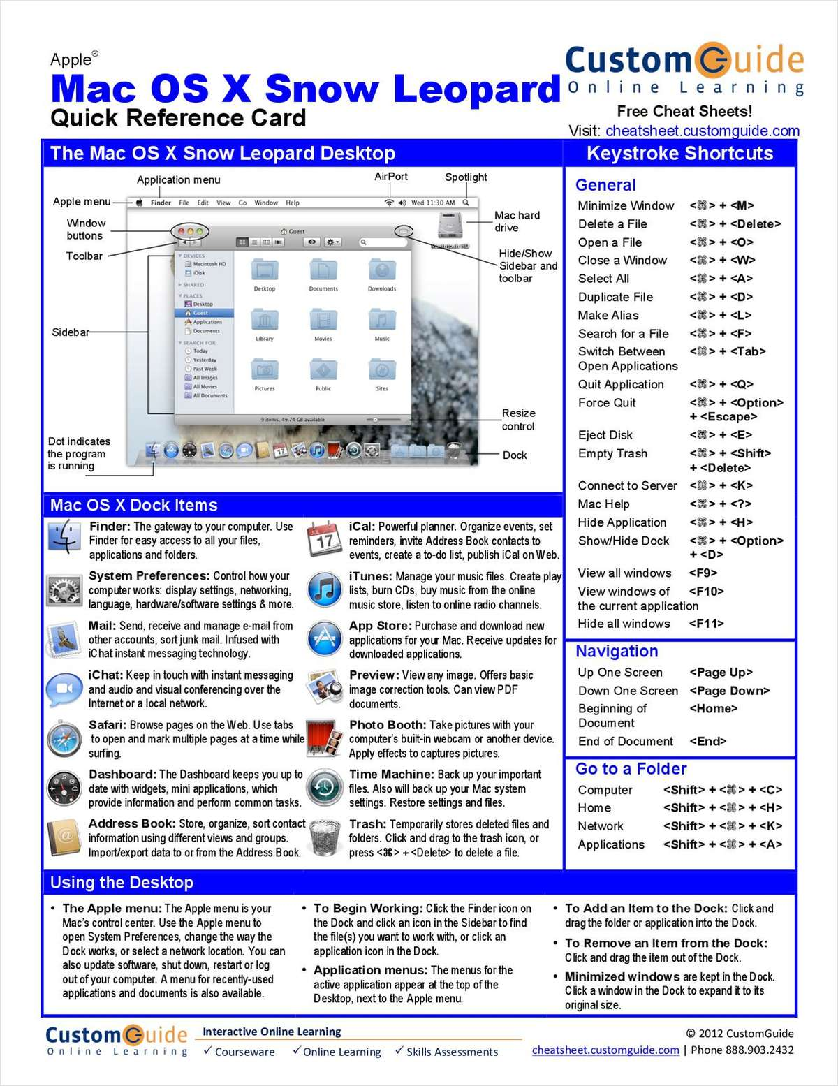 Mac OS X Snow Leopard -- Free Quick Reference Card