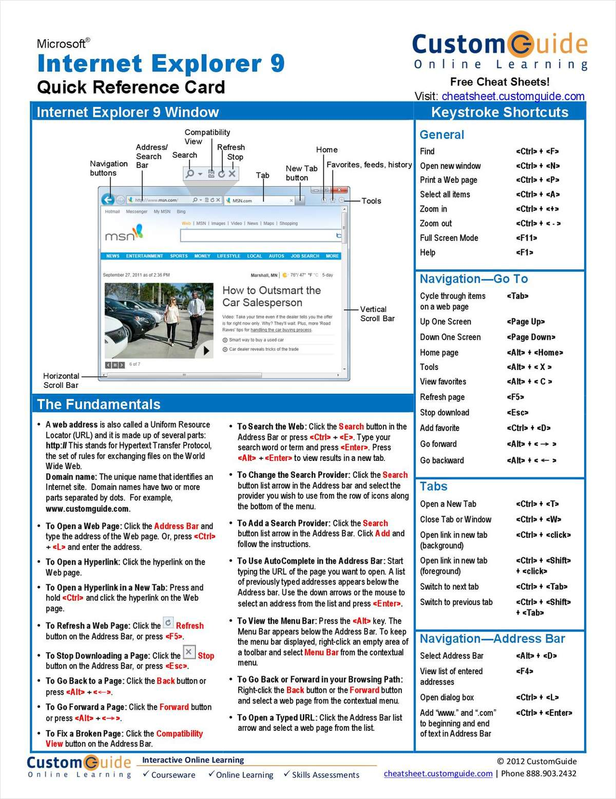 Internet Explorer 9 -- Free Quick Reference Card