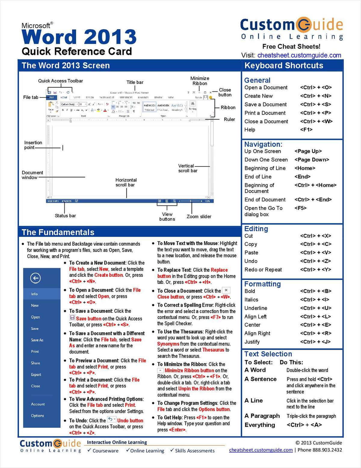 Microsoft Word 2013-- Free Reference Card
