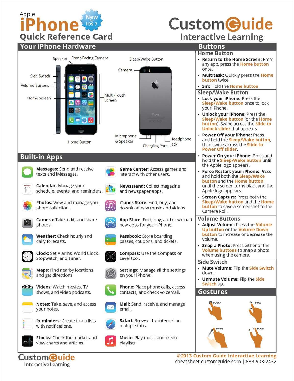 Apple iPhone (New for iOS 7) -- Free Quick Reference Card