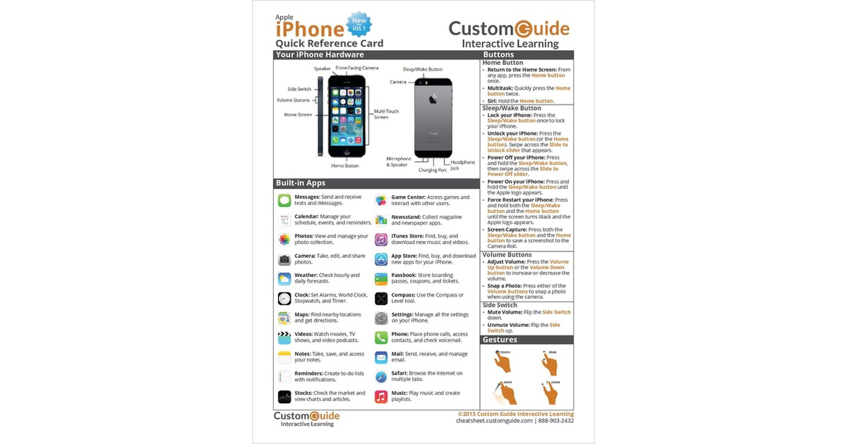 Apple Iphone New For Ios 7 Free Quick Reference Card
