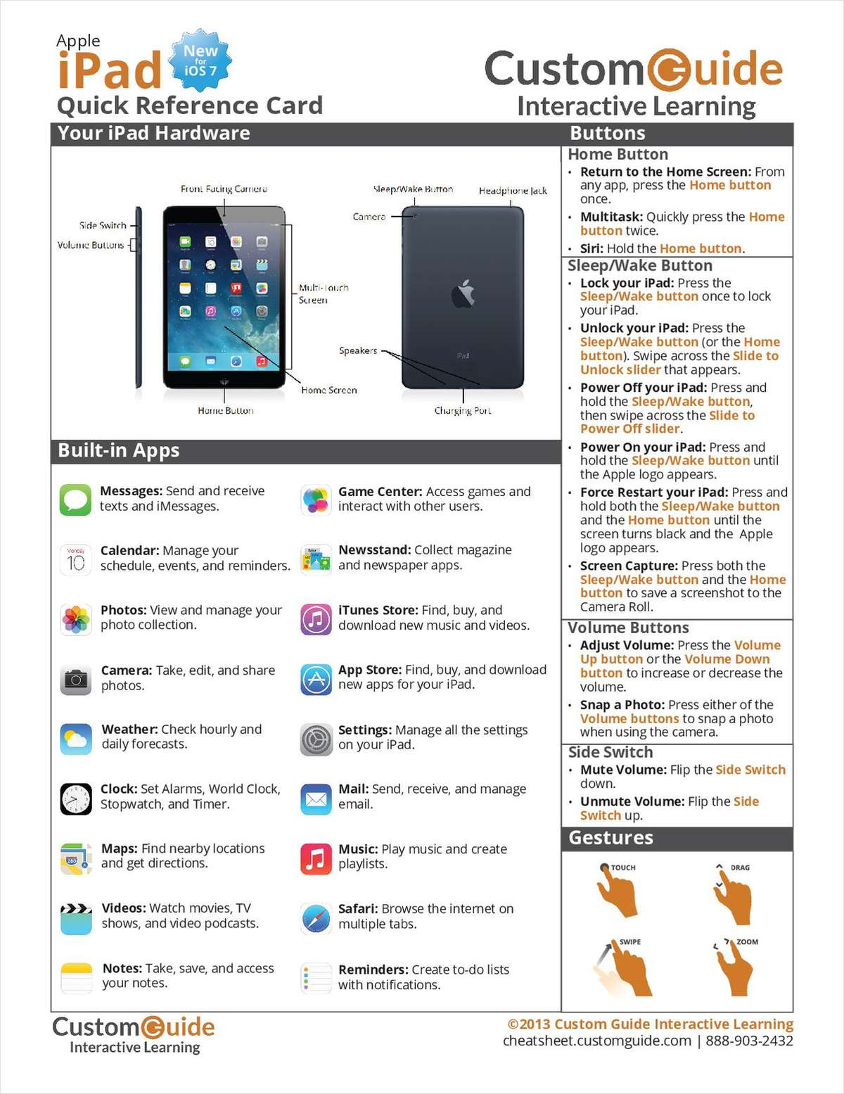 Apple iPad (New for iOS 7) -- Free Quick Reference Card