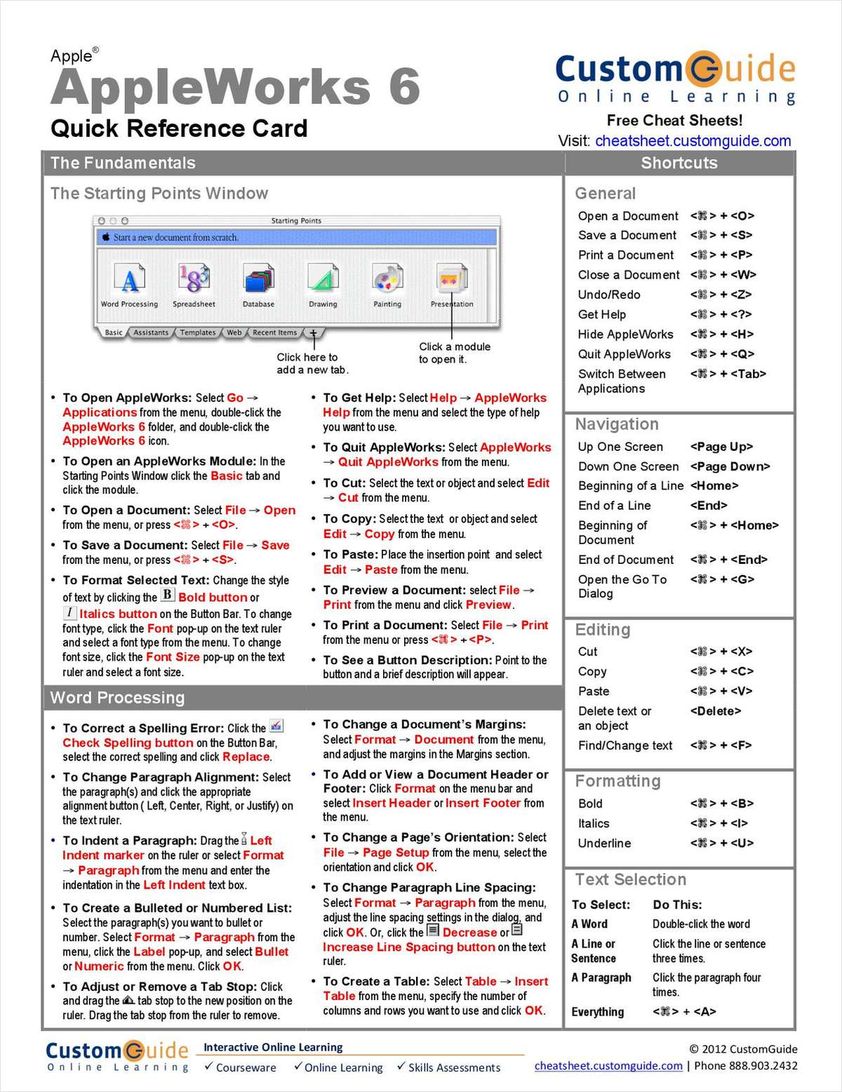 AppleWorks 6 -- Quick Reference Card