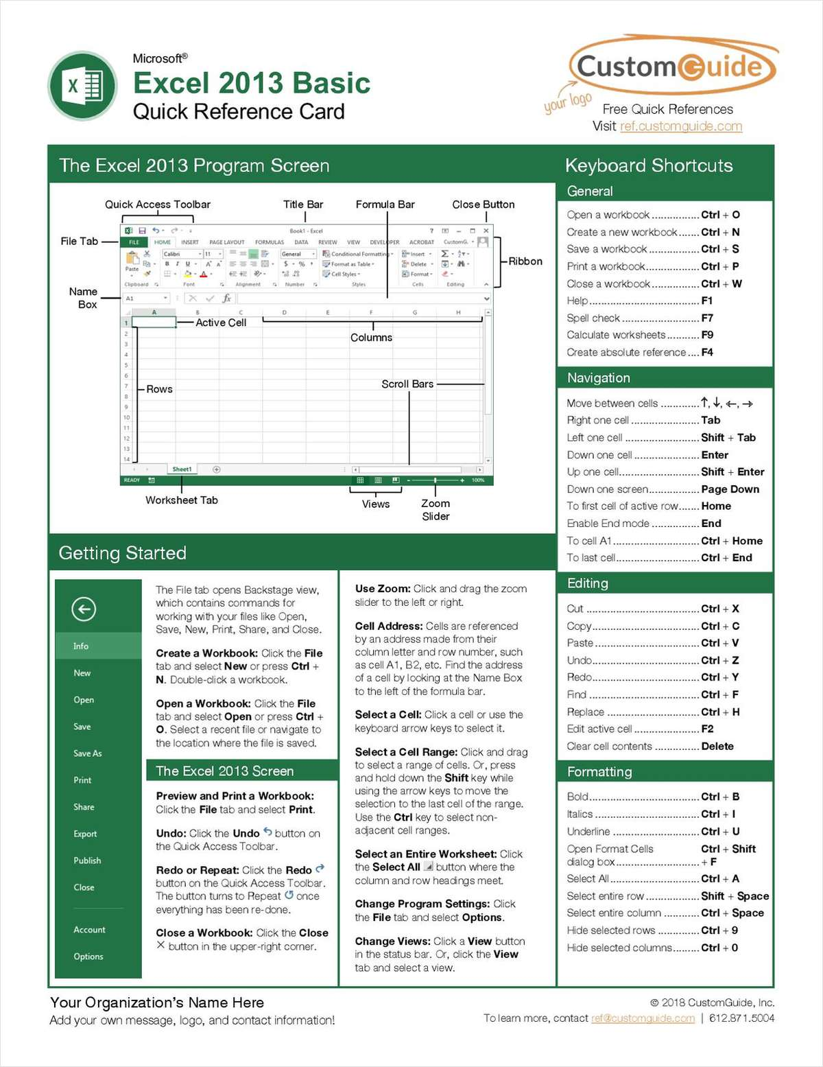 Microsoft Excel 2013 Basic -- Quick Reference Guide