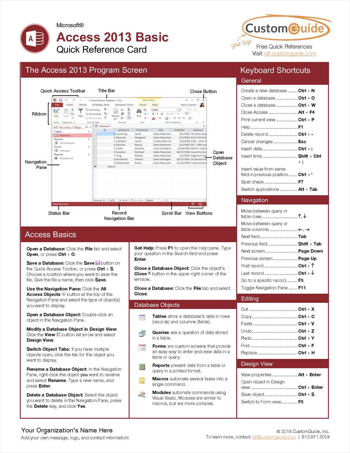 Microsoft Access 2013 Basic - Free Quick Reference Card
