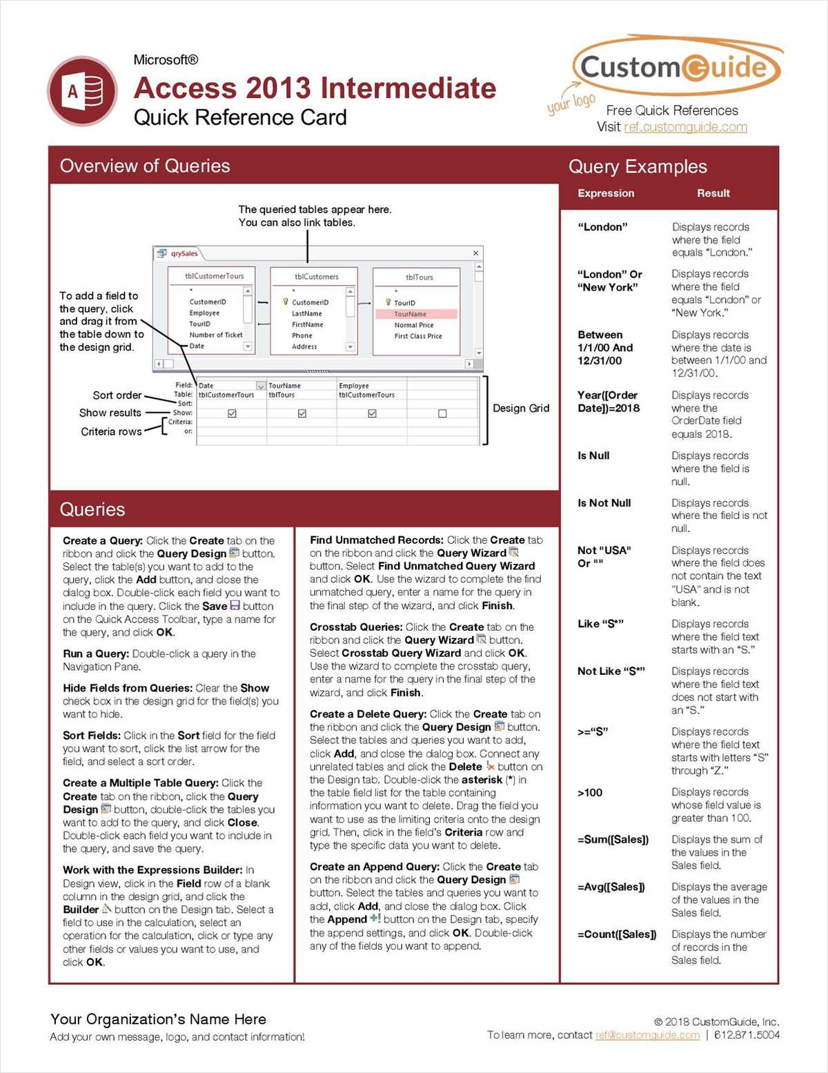 Microsoft Access 2013 Intermediate - Free Quick Reference Card