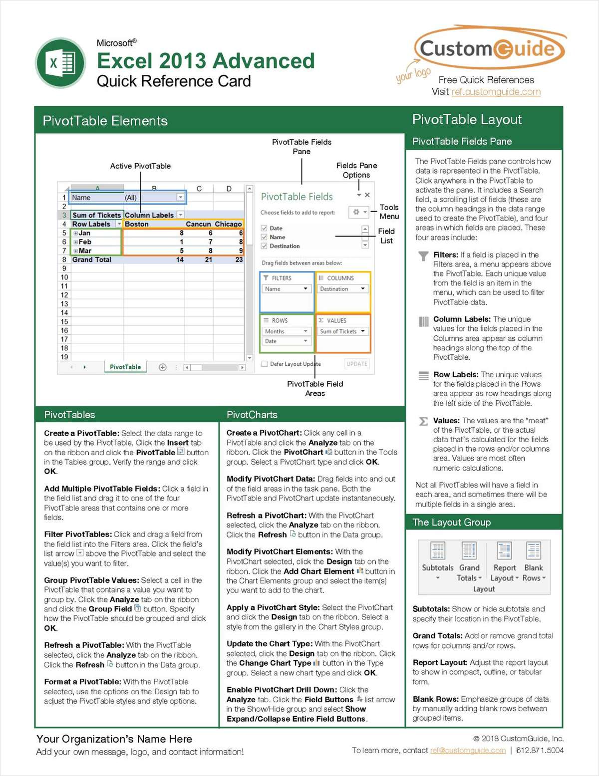 Microsoft Excel 2013 Advanced - Quick Reference Guide