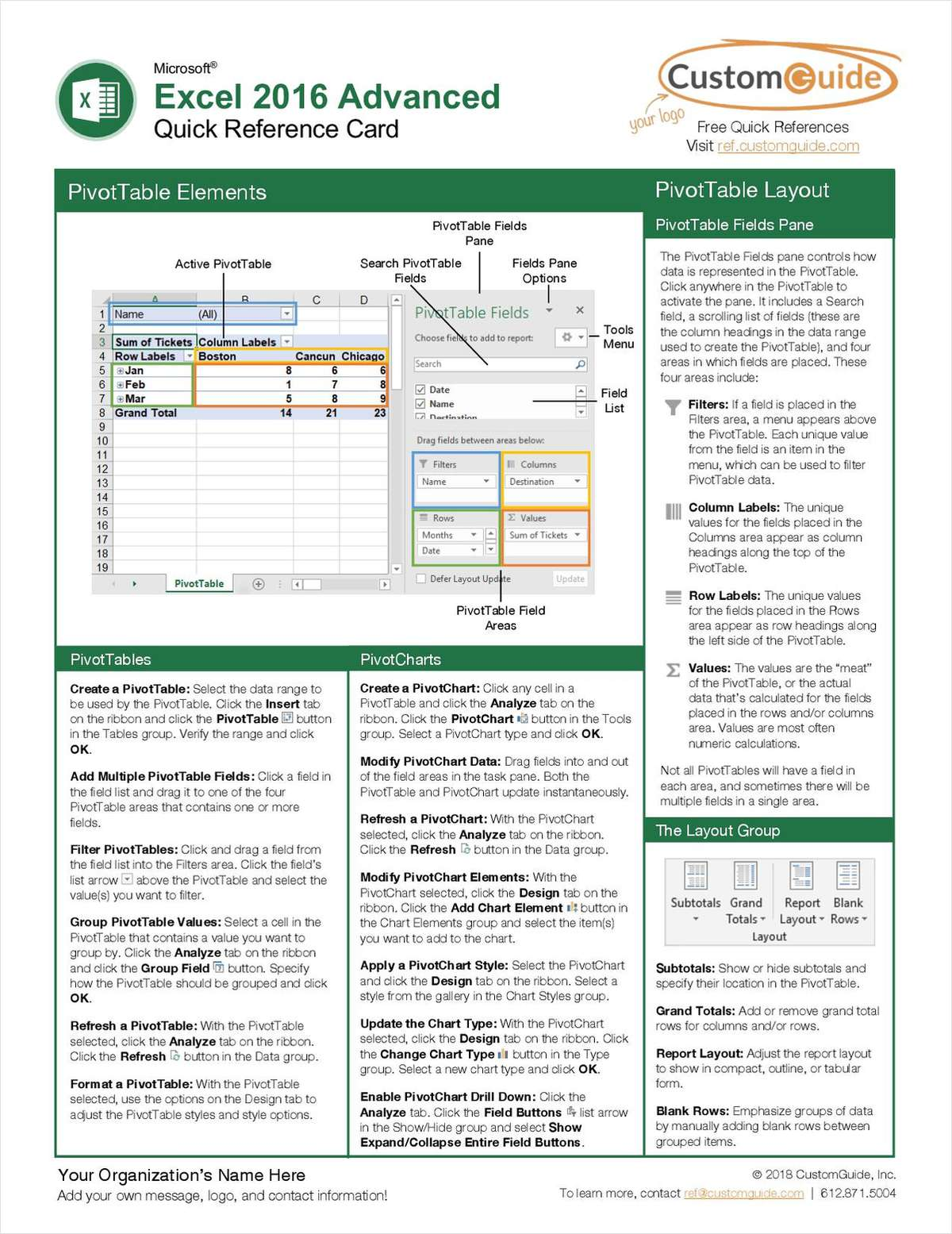 Microsoft Excel 2016 Advanced - Quick Reference Guide