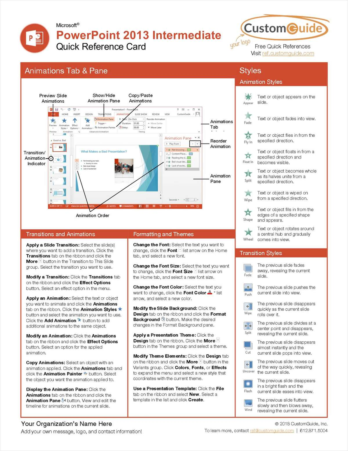 Microsoft PowerPoint 2013 Intermediate - Quick Reference Card